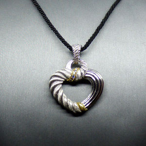 NEW Judith Ripka Sterling Two-Tone Heart Necklace